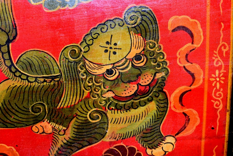 Joinery Tibetan Foo Dog Box Hand Painted Box 5 For Sale