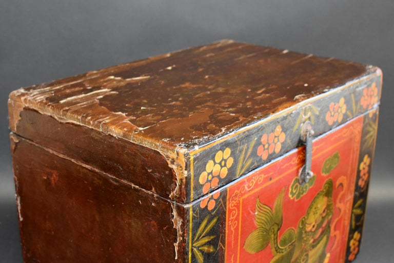 Tibetan Foo Dog Box Hand Painted Box 5 For Sale 1