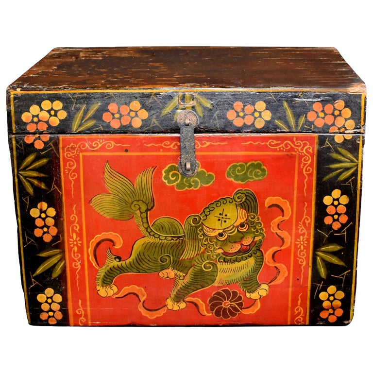 Tibetan Foo Dog Box Hand Painted Box 5 For Sale