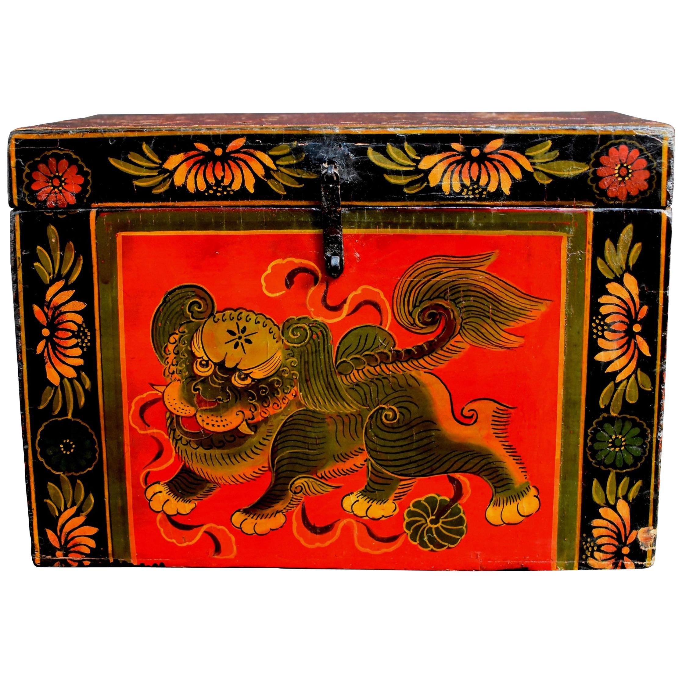 Tibetan Foo Dog Box Hand Painted Box 7