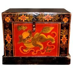 Tibetan Foo Dog Box with Base Hand Painted Box 8