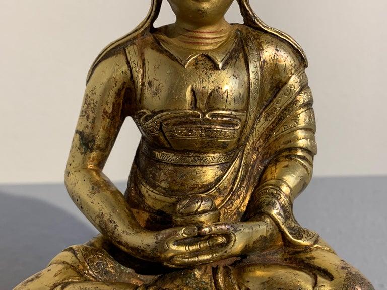 Tibetan Gilt Bronze Figure of Shantideva, 16th-17th Century, Tibet For Sale 5