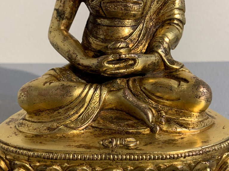 Tibetan Gilt Bronze Figure of Shantideva, 16th-17th Century, Tibet For Sale 7