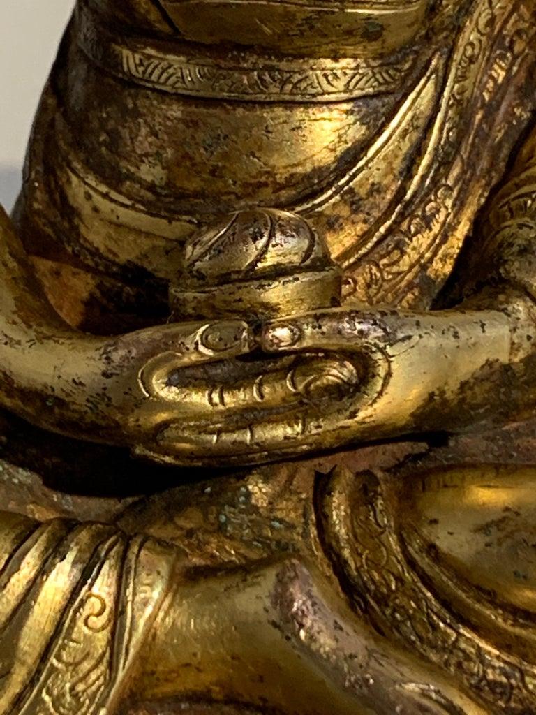 Tibetan Gilt Bronze Figure of Shantideva, 16th-17th Century, Tibet For Sale 9
