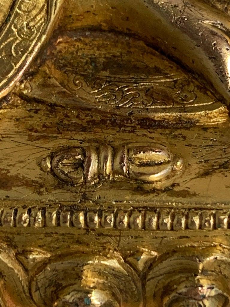 Tibetan Gilt Bronze Figure of Shantideva, 16th-17th Century, Tibet For Sale 10