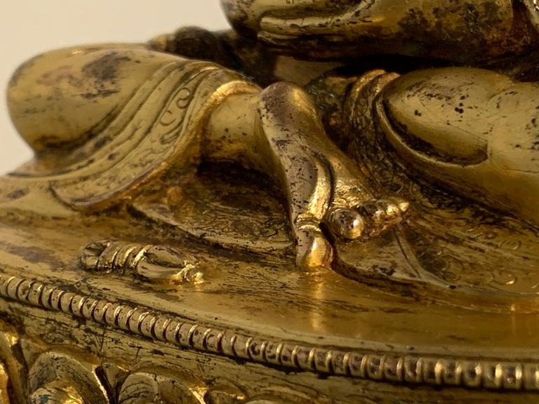 Tibetan Gilt Bronze Figure of Shantideva, 16th-17th Century, Tibet For Sale 11