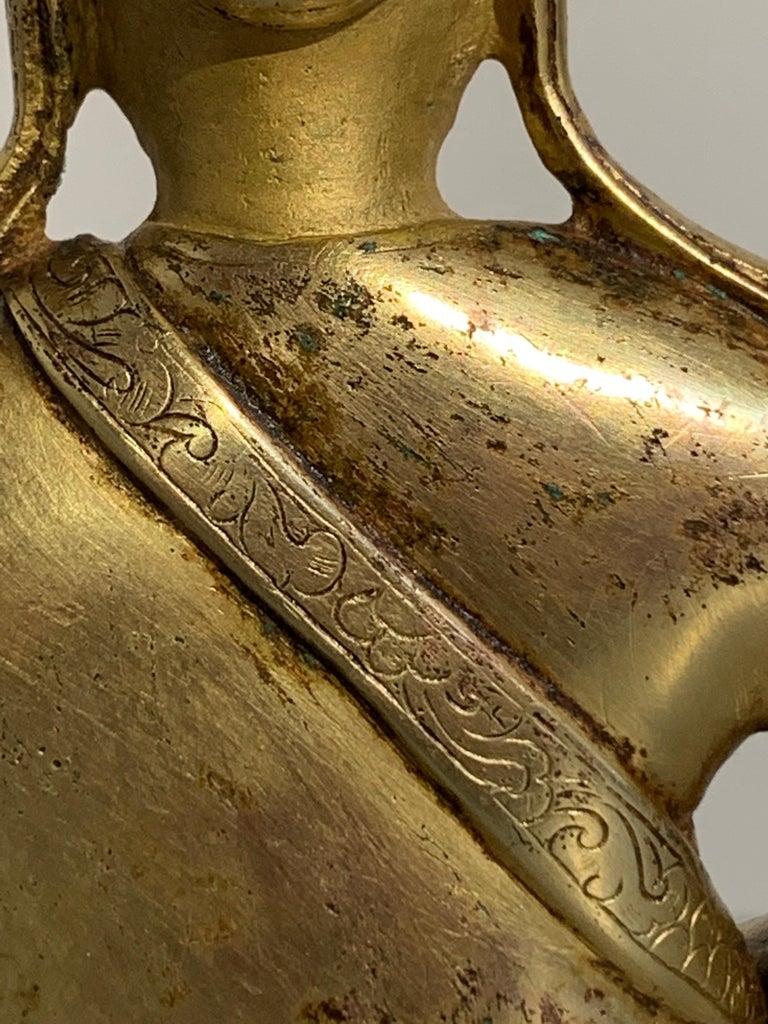 Tibetan Gilt Bronze Figure of Shantideva, 16th-17th Century, Tibet For Sale 13