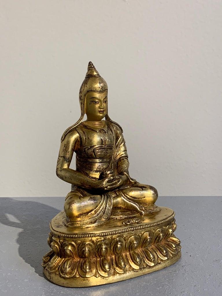 Ming Tibetan Gilt Bronze Figure of Shantideva, 16th-17th Century, Tibet For Sale
