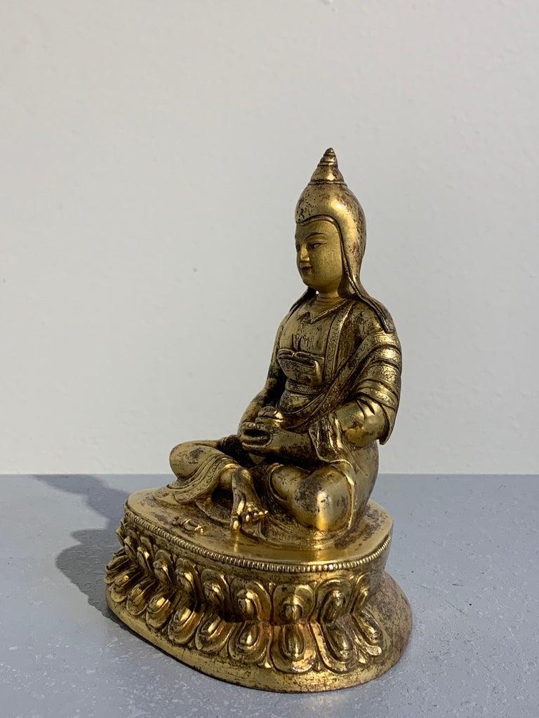 Tibetan Gilt Bronze Figure of Shantideva, 16th-17th Century, Tibet For Sale 1