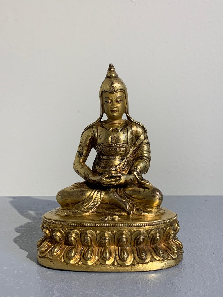 Tibetan Gilt Bronze Figure of Shantideva, 16th-17th Century, Tibet For Sale 2