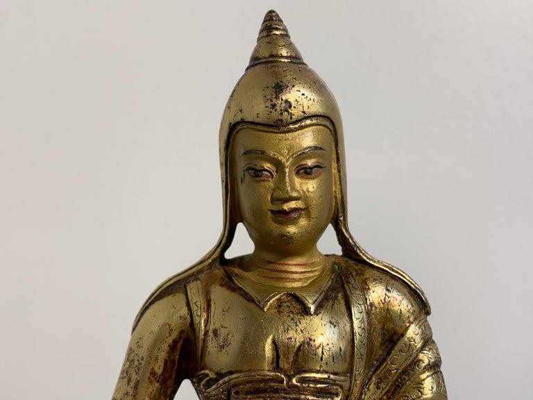 Tibetan Gilt Bronze Figure of Shantideva, 16th-17th Century, Tibet For Sale 3