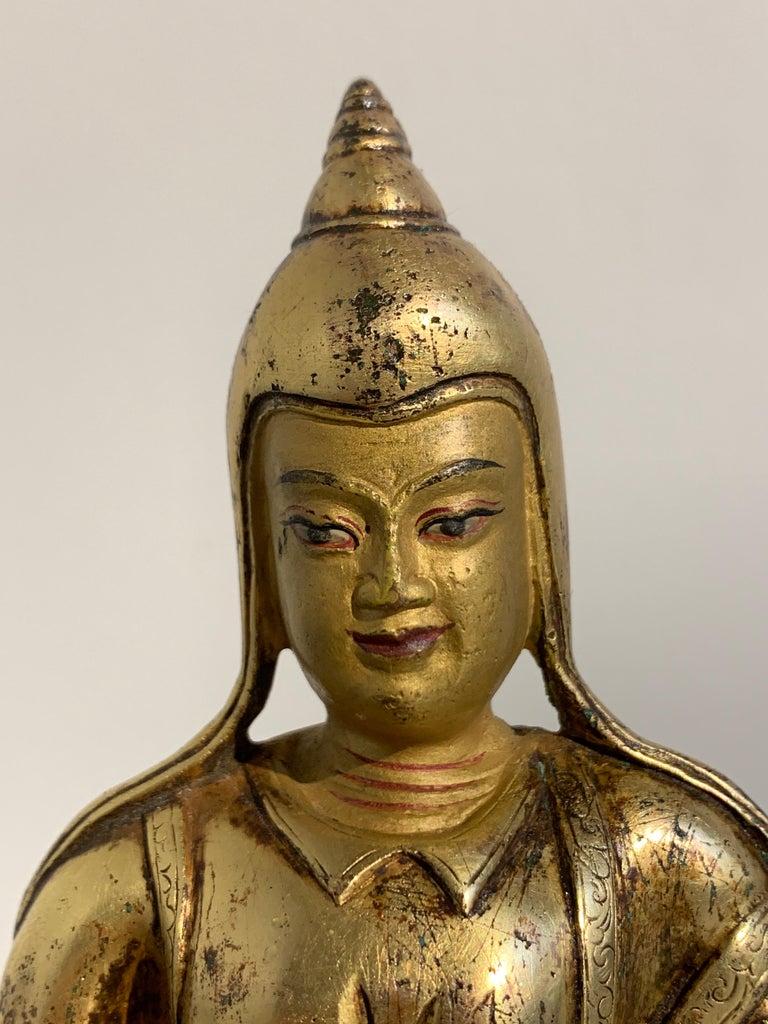 Tibetan Gilt Bronze Figure of Shantideva, 16th-17th Century, Tibet For Sale 4