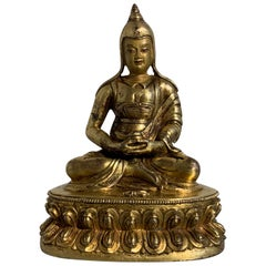 Tibetan Gilt Bronze Figure of Shantideva, 16th-17th Century, Tibet