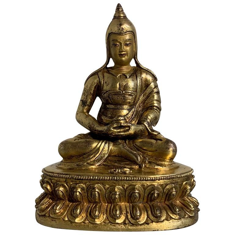 Tibetan Gilt Bronze Figure of Shantideva, 16th-17th Century, Tibet For Sale