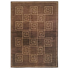 Tibetan Greek Key in Chocolate Brown and Golden Beige Handmade Wool and Silk Rug