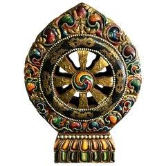 Tibetan Hand Carved and Painted Large Wood Temple Shrine Dharma Wheel