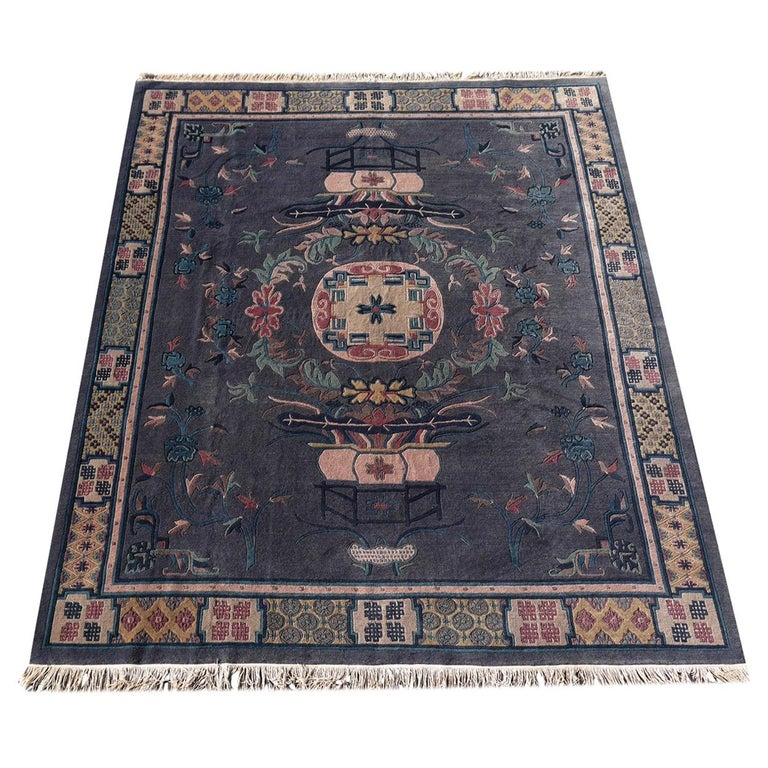 Tibetan Hand Knotted Vintage Traditional Area Rug For Sale