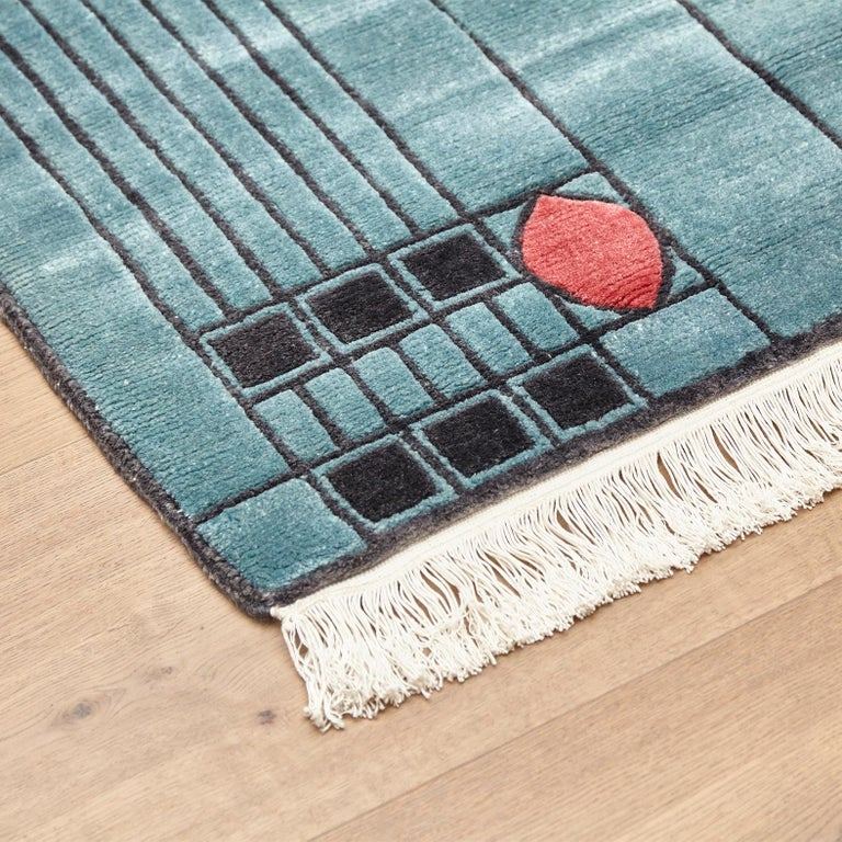 Jugendstil Tibetan Hand Knotted Wool Blue Large Rug, circa 1990 For Sale