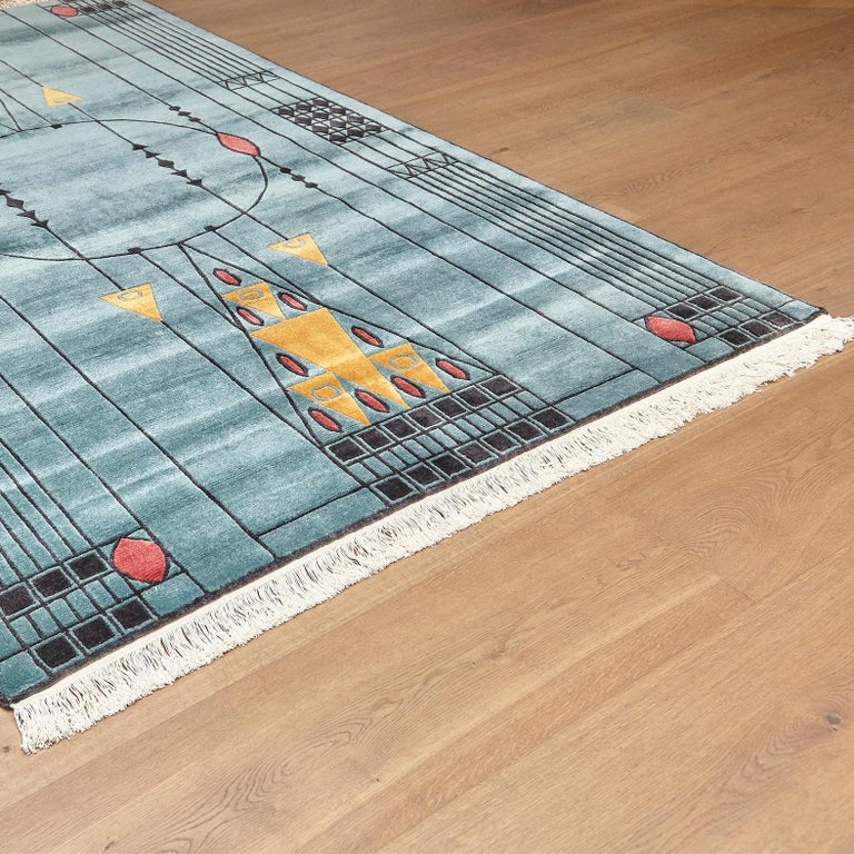 Hand-Knotted Tibetan Hand Knotted Wool Blue Large Rug, circa 1990 For Sale