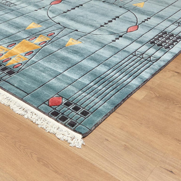 Tibetan Hand Knotted Wool Blue Large Rug, circa 1990 In Good Condition For Sale In Barcelona, Barcelona