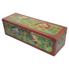 Tibetan Hand Painted Decorative Box with Floral Designs
