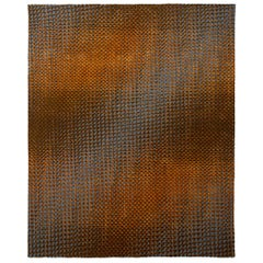 Tibetan Knotted and Sumac Flat-Woven Studio 54 Carpet in gray, orange and brown
