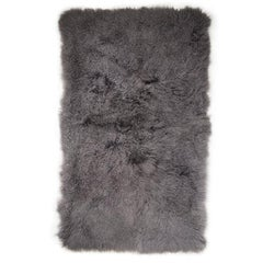 Tibetan Lamb Rug and Throw in Charcoal Grey