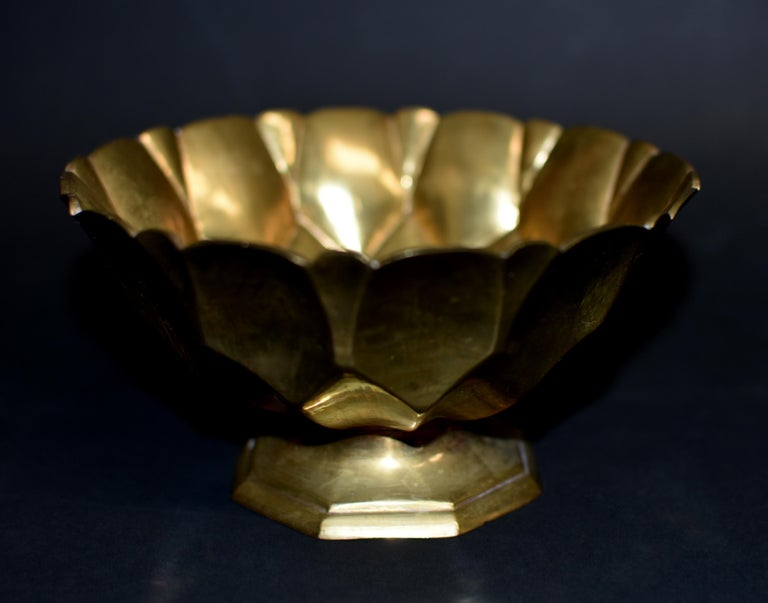 20th Century Tibetan Lotus Offering Bowl Solid Brass For Sale