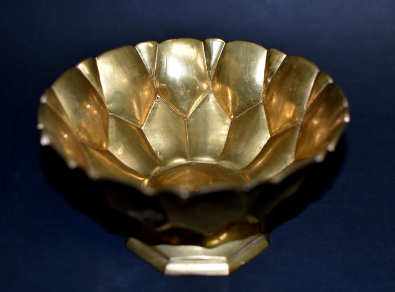 Tibetan Lotus Offering Bowl Solid Brass For Sale 1