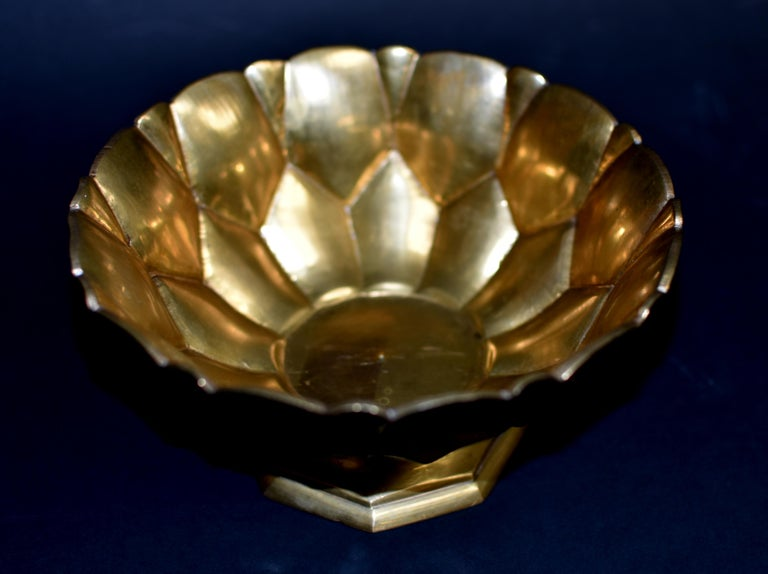 Tibetan Lotus Offering Bowl Solid Brass For Sale 3