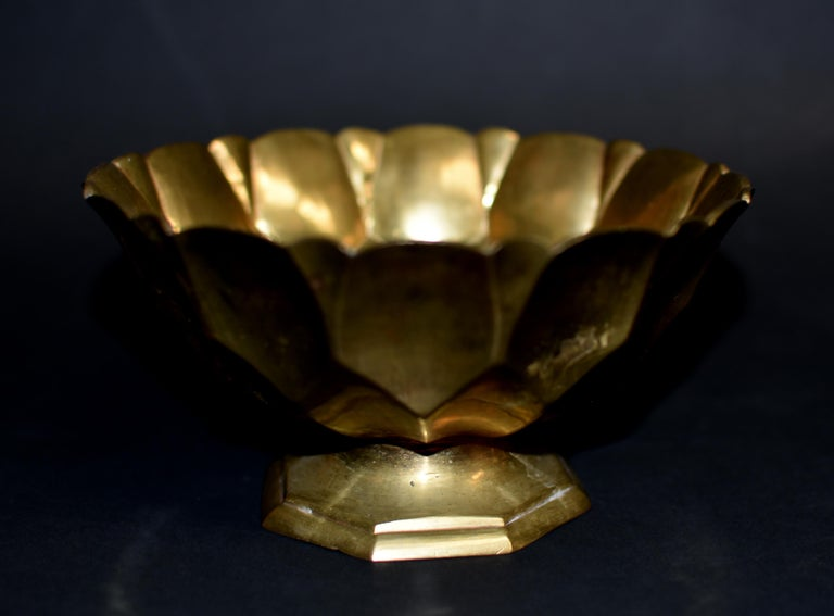 Tibetan Lotus Offering Bowl Solid Brass For Sale 4