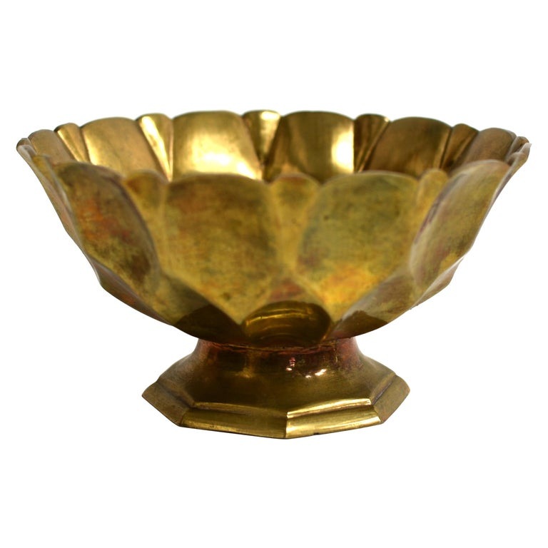 Tibetan Lotus Offering Bowl Solid Brass For Sale