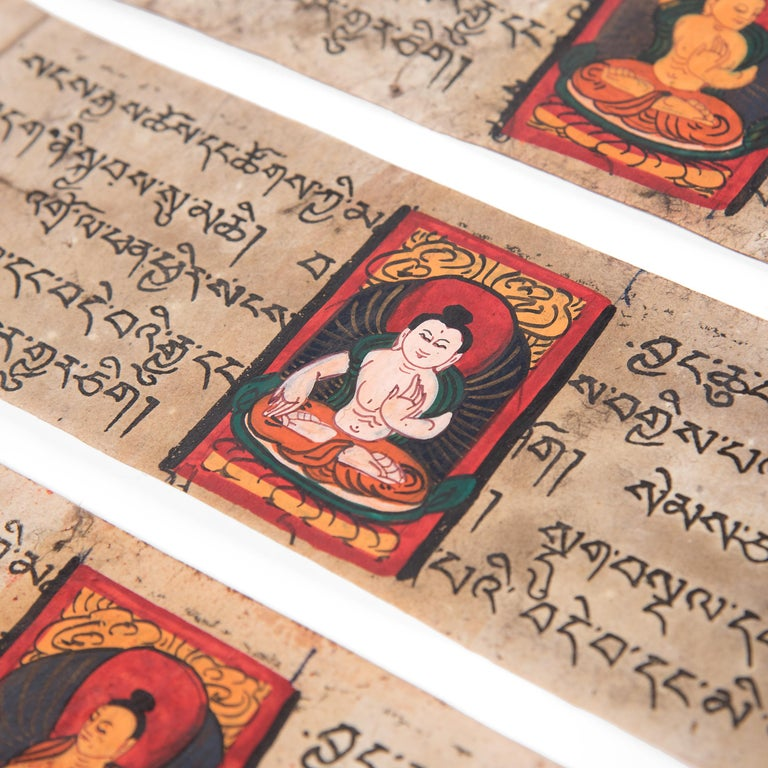 20th Century Tibetan Manuscript Book with Painted Cover, c. 1900 For Sale