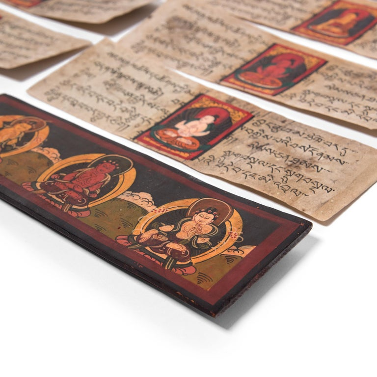Wood Tibetan Manuscript Book with Painted Cover, c. 1900 For Sale