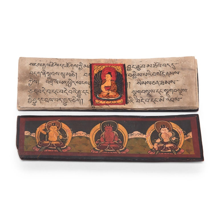 Tibetan Manuscript Book with Painted Cover, c. 1900 For Sale 2