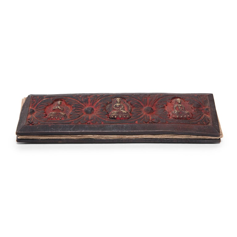 Tibetan Manuscript Book with Painted Cover, c. 1900 For Sale 3