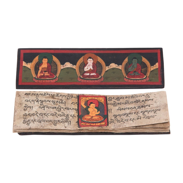 Tibetan Manuscript Book with Painted Cover, c. 1900 For Sale