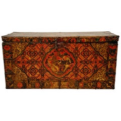 Tibetan Painted Trunk with Dragon and Brocade Design, 17th-18th Century, Tibet