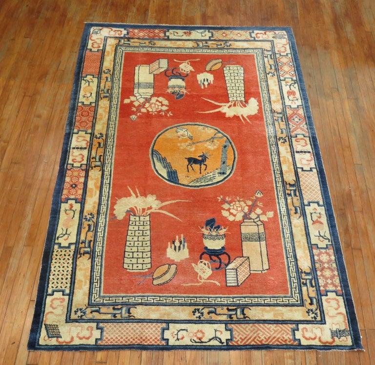 Antique Tibetan intermediate Pictorial rug.
