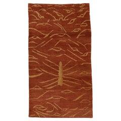 Tibetan Rug with Tiger Pelt Pattern
