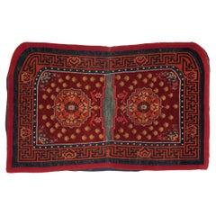 Tibetan Saddle Carpet with Meander Border, c. 1900