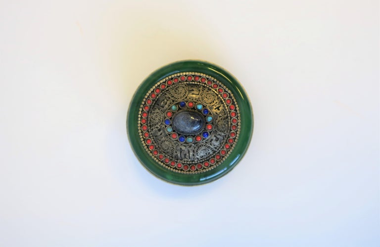 20th Century Tibetan Sterling Silver Ceremonial Box For Sale