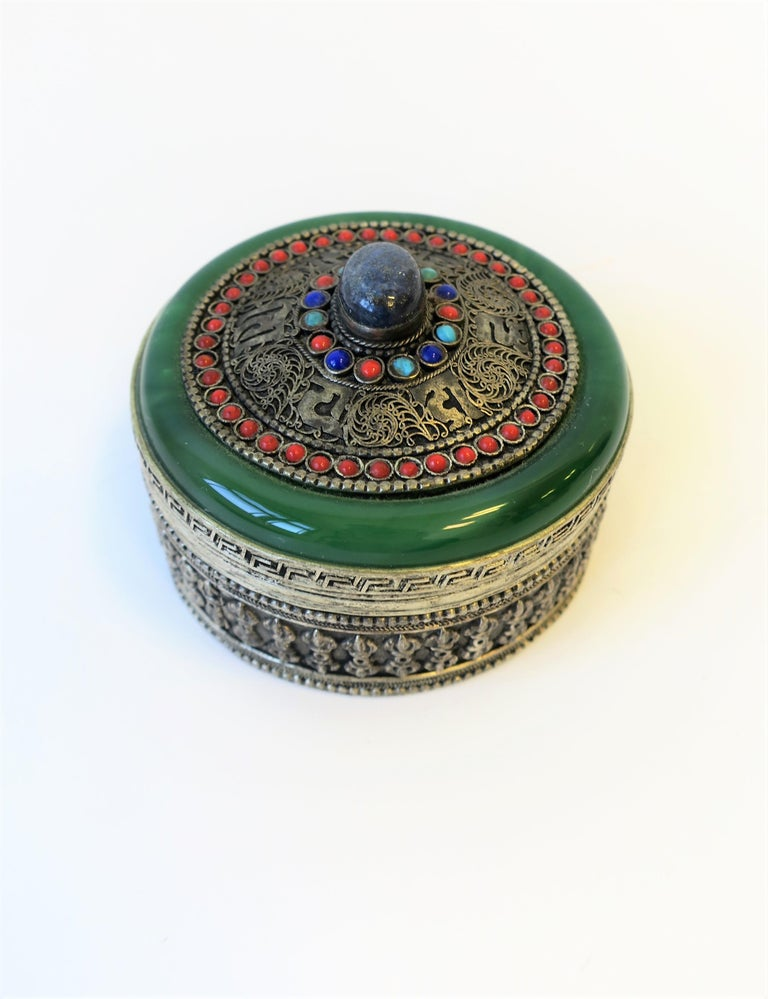 Tibetan Sterling Silver Ceremonial Box For Sale 2