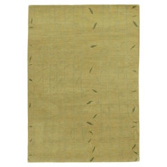 Tibetan Style Gold Botanical Hand-Knotted Area Rug