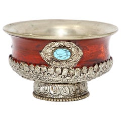 Tibetan Style Metal Ceremonial Offering Bowl