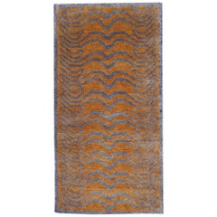 Tibetan Tiger Rug Wool and Silk Hand Knotted Gold Blue by Djoharian Collection