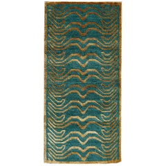 Tibetan Tiger Rug Wool Silk Hand Knotted Emerald Gold by Djoharian Collection