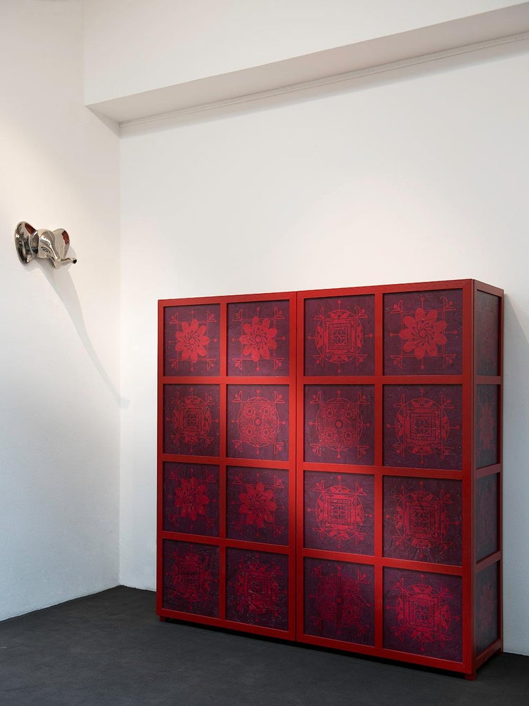 Tibetan Wardrobe in Wood and Colored OSB with Ethnic Decorations by Aldo Cibic 2