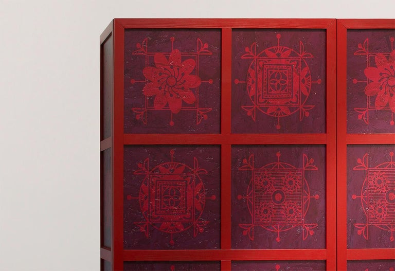Tibetan Wardrobe in Wood and Colored OSB with Ethnic Decorations by Aldo Cibic 3