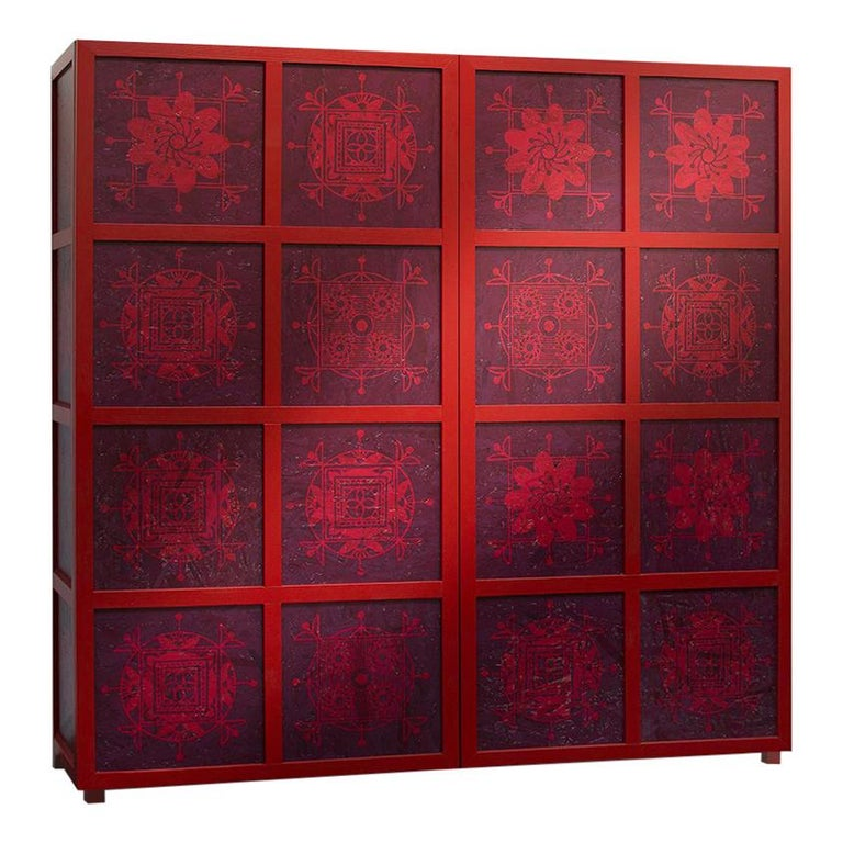 Tibetan Wardrobe in Wood and Colored OSB with Ethnic Decorations by Aldo Cibic 1